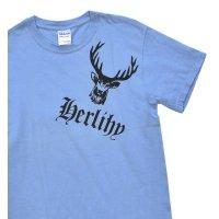 【ビンテージ】【水色】【鹿プリント】【Tシャツ】【サイズS】