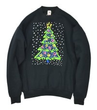 90's【ビンテージ】【USA製】【フルーツオブザルーム】【クリスマスツリー】【黒】【スウェット】【XL】