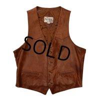 80's 【ビンテージ】【Remy leather fashions】ブラウン【レザーベスト】【サイズ42】