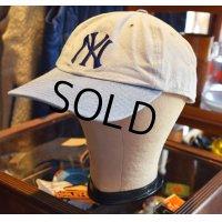 【ビンテージ】アースグレー×水色【ニューヨークヤンキース】【ベースボールキャップ】
