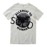 【ビンテージ】【猫】【ALLERGIC TO HUMANS】白【Tシャツ】【サイズS】