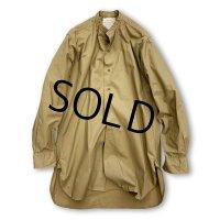 60's 英国製【ビンテージ】【ブリティッシュアーミー】【ノーカラーシャツ】カーキシャツ【サイズ14】