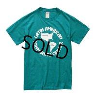 【ビンテージ】【 エメラルドグリーン・水色】【LATIN AMERICAN COMMUNITY CENTER】【Tシャツ】【サイズS】
