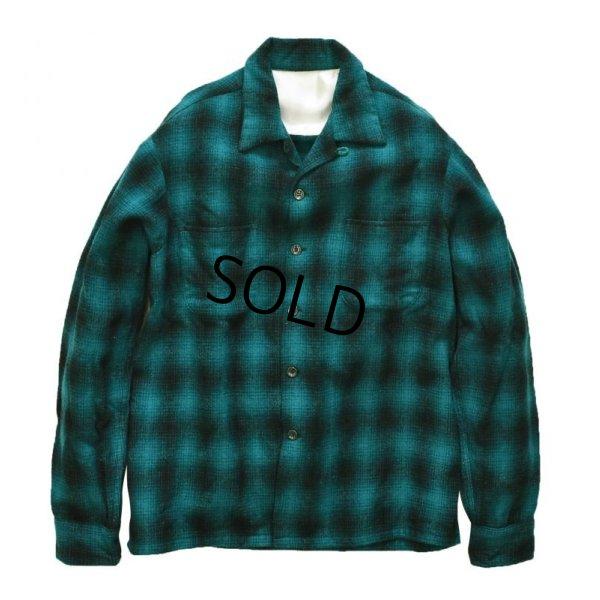 画像1: 50's~ 【ビンテージ】【オールド】【緑×黒】【シャドーチェック】【ウールシャツ】